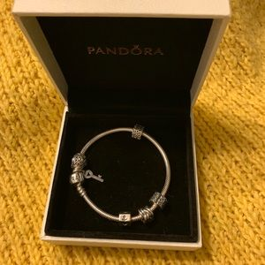Pandora bracelet with charms and spacers!